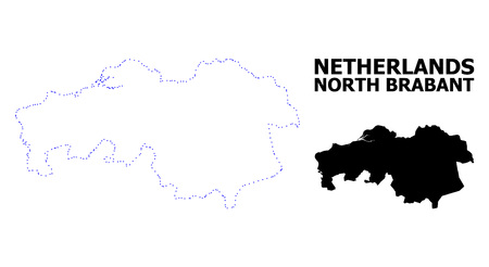 Vector contour Map of North Brabant Province with caption. Map of North Brabant Province is isolated on a white background. Simple flat dotted geographic map template.