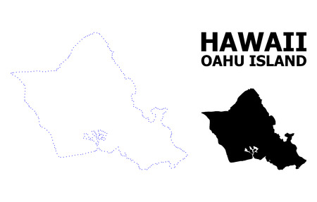Vector contour Map of Oahu Island with name. Map of Oahu Island is isolated on a white background. Simple flat dotted geographic map template.