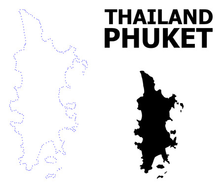 Vector contour Map of Phuket with title. Map of Phuket is isolated on a white background. Simple flat dotted geographic map template.