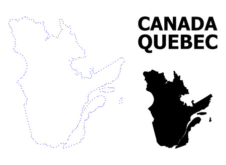 Vector contour Map of Quebec Province with title. Map of Quebec Province is isolated on a white background. Simple flat dotted geographic map template.