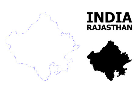 Vector contour Map of Rajasthan State with caption. Map of Rajasthan State is isolated on a white background. Simple flat dotted geographic map template.
