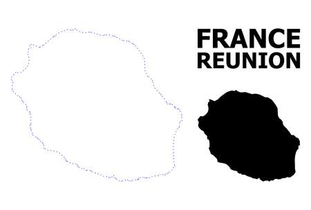 Vektorkonturkarte der Insel La Réunion mit Bildunterschrift. Karte der Insel La Réunion ist auf einem weißen Hintergrund isoliert. Einfache flache gepunktete geografische Kartenvorlage. Vektorgrafik