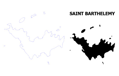 Vector contour Map of Saint Barthelemy with title. Map of Saint Barthelemy is isolated on a white background. Simple flat dotted geographic map template.