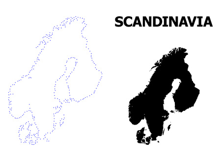 Vector contour Map of Scandinavia with name. Map of Scandinavia is isolated on a white background. Simple flat dotted geographic map template.