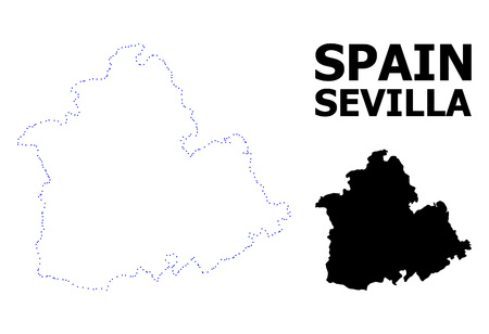 Vector contour Map of Sevilla Province with caption. Map of Sevilla Province is isolated on a white background. Simple flat dotted geographic map template.