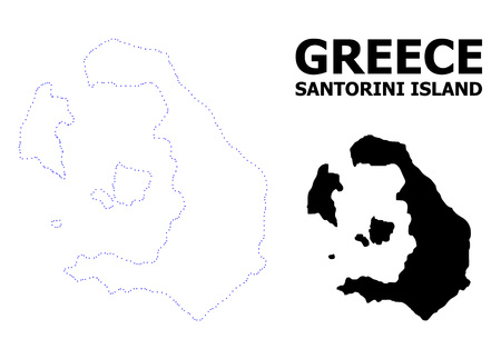 Vector contour Map of Santorini Island with name. Map of Santorini Island is isolated on a white background. Simple flat dotted geographic map template. Illustration