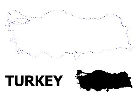 Vector contour Map of Turkey with caption. Map of Turkey is isolated on a white background. Simple flat dotted geographic map template.