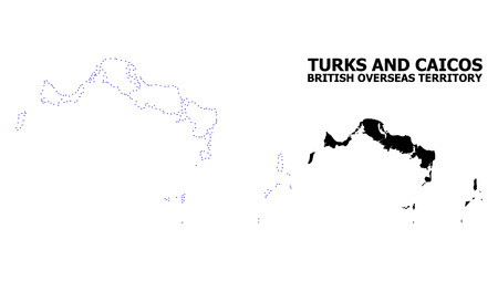 Vector contour Map of Turks and Caicos Islands with title. Map of Turks and Caicos Islands is isolated on a white background. Simple flat dotted geographic map template. Illustration