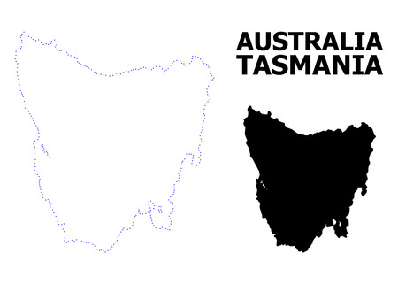 Vector contour Map of Tasmania Island with caption. Map of Tasmania Island is isolated on a white background. Simple flat dotted geographic map template.