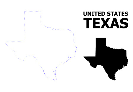 Vector contour Map of Texas State with name. Map of Texas State is isolated on a white background. Simple flat dotted geographic map template.