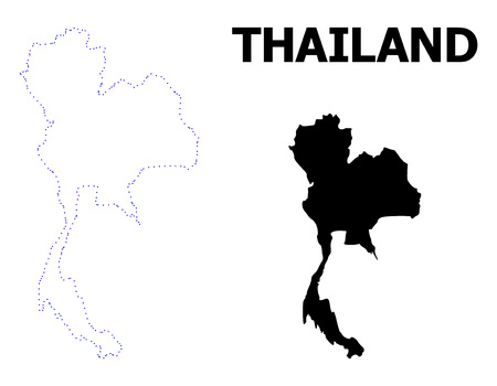 Vector contour Map of Thailand with caption. Map of Thailand is isolated on a white background. Simple flat dotted geographic map template. Иллюстрация