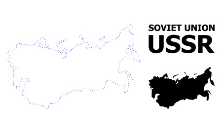 Vector contour Map of USSR with name. Map of USSR is isolated on a white background. Simple flat dotted geographic map template.