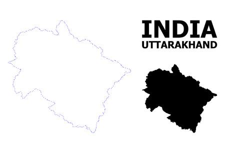 Vector contour Map of Uttarakhand State with name. Map of Uttarakhand..