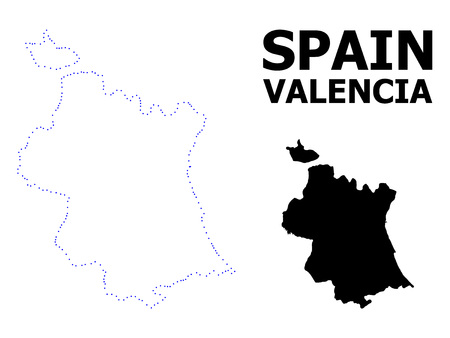 Vector contour Map of Valencia Province with caption. Map of Valencia Province is isolated on a white background. Simple flat dotted geographic map template.