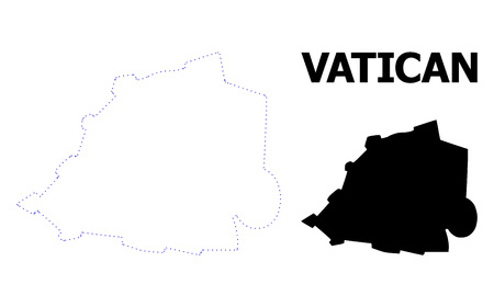 Vector contour Map of Vatican with caption. Map of Vatican is isolated on a white background. Simple flat dotted geographic map template.