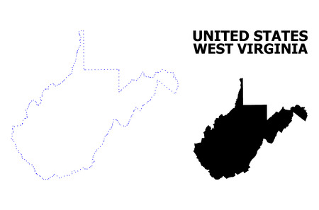 Vector contour Map of West Virginia State with name. Map of West Virginia State is isolated on a white background. Simple flat dotted geographic map template. Ilustrace