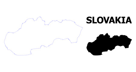 Vector contour Map of Slovakia with caption. Map of Slovakia is isolated on a white background. Simple flat dotted geographic map template. Ilustracja