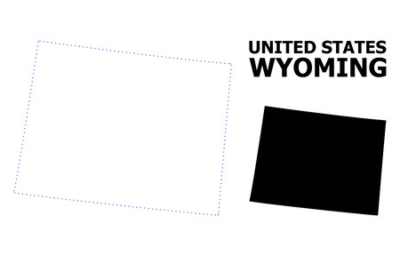 Vector contour Map of Wyoming State with name. Map of Wyoming State is isolated on a white background. Simple flat dotted geographic map template.