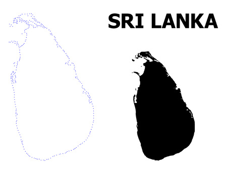 Vector contour Map of Sri Lanka with name. Map of Sri Lanka is isolated on a white background. Simple flat dotted geographic map template.