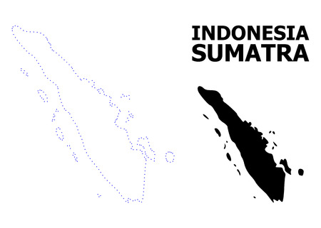 Vector contour Map of Sumatra Island with caption. Map of Sumatra Island is isolated on a white background. Simple flat dotted geographic map template. Illustration