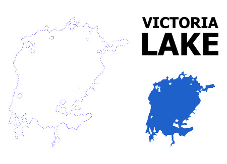 Vector contour Map of Victoria Lake with caption. Map of Victoria Lake is isolated on a white background. Simple flat dotted geographic map template.