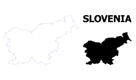 Vector contour Map of Slovenia with name. Map of Slovenia is isolated on a white background. Simple flat dotted geographic map template.