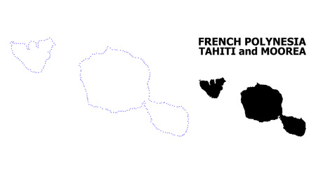Vector contour Map of Tahiti and Moorea islands with title. Map of Tahiti and Moorea islands is isolated on a white background. Simple flat dotted geographic map template. 向量圖像