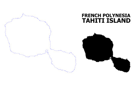 Vector contour Map of Tahiti Island with caption. Map of Tahiti Island is isolated on a white background. Simple flat dotted geographic map template.  イラスト・ベクター素材