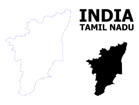 Vector contour Map of Tamil Nadu State with name. Map of Tamil Nadu State is isolated on a white background. Simple flat dotted geographic map template.