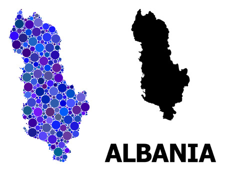 Blue round spot mosaic and solid map of Albania. Vector geographic map of Albania in blue color variations. Abstract concept is composed with randomized round points.