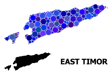 Blue round spot mosaic and solid map of East Timor. Vector geographic map of East Timor in blue color tinges. Abstract composition is organized with randomized round dots.