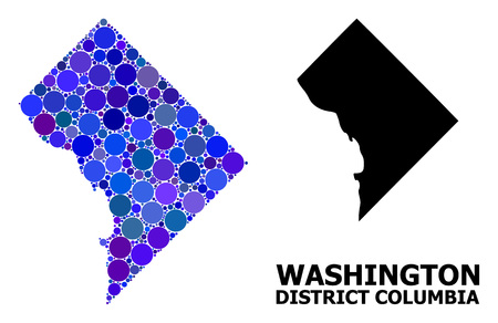 Blue round spot mosaic and solid map of District Columbia. Vector geographic map of District Columbia in blue color tones. Abstract mosaic is organized with scattered sphere dots.