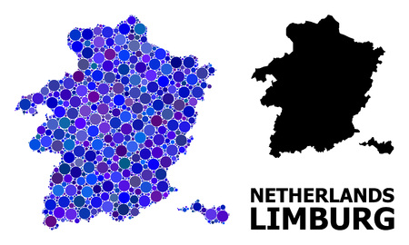 Blue round spot mosaic and solid map of Limburg Province. Vector geographic map of Limburg Province in blue color tinges. Abstract mosaic is created from random round points.