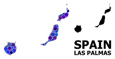 Blue circle dot mosaic and solid map of Las Palmas Province. Vector geographic map of Las Palmas Province in blue color tones. Abstract mosaic is combined with random circle blots.