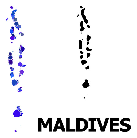 Blue circle dot mosaic and solid map of Maldives. Vector geographic map of Maldives in blue color tones. Abstract mosaic is constructed from randomized circle items.