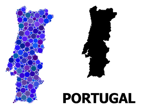 Blue circle mosaic and solid map of Portugal. Vector geographic map of Portugal in blue color hues. Abstract mosaic is designed with randomized circle spots. Ilustração