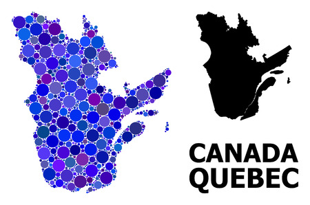 Blue circle dot mosaic and solid map of Quebec Province. Vector geographic map of Quebec Province in blue color tones. Abstract mosaic is organized from randomized circle points.