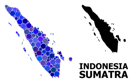 Blue circle mosaic and solid map of Sumatra Island. Vector geographic map of Sumatra Island in blue color tints. Abstract mosaic is organized from scattered circle pixels.