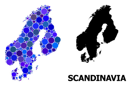 Blue circle mosaic and solid map of Scandinavia. Vector geographic map of Scandinavia in blue color tinges. Abstract mosaic is organized with scattered round spots.