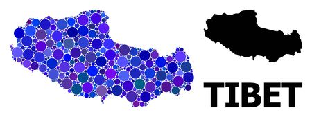 Blue circle dot mosaic and solid map of Tibet. Vector geographic map of Tibet in blue color shades. Abstract mosaic is composed with randomized circle spots.