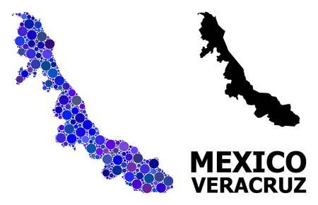 Blue circle dot mosaic and solid map of Veracruz State. Vector geographic map of Veracruz State in blue color tints. Abstract concept is done from random circle dots. Ilustração