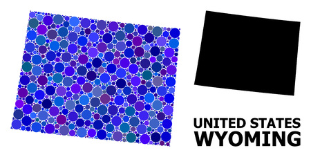 Blue circle mosaic and solid map of Wyoming State. Vector geographic map of Wyoming State in blue color variations. Abstract concept is created from random circle items. 일러스트
