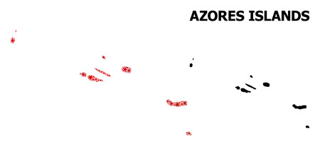 Red star mosaic and solid map of Azores Islands. Vector geographic map of Azores Islands in red color hues. Abstract mosaic is created with randomized flat star items. Illustration