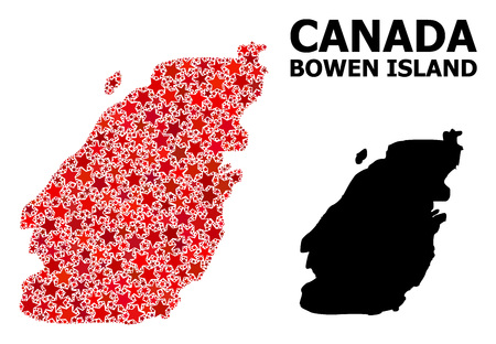 Red starred mosaic and solid map of Bowen Island. Vector geographic map of Bowen Island in red color tinges. Abstract mosaic is combined from random flat star items.