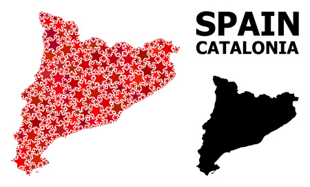 Red star mosaic and solid map of Catalonia. Vector geographic map of Catalonia in red color shades. Abstract mosaic is combined with scattered flat star items.