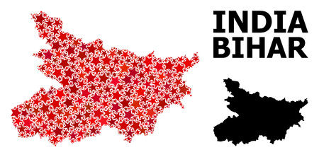 Red star mosaic and solid map of Bihar State. Vector geographic map of Bihar State in red color shades. Abstract mosaic is composed with random flat star parts.