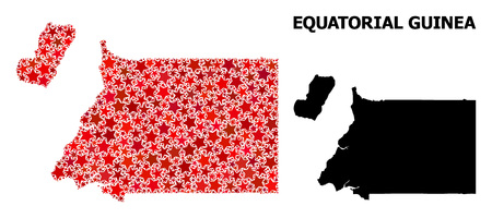 Red star pattern and solid map of Equatorial Guinea. Vector geographic map of Equatorial Guinea in red color tones. Abstract concept is created with randomized flat star items. 向量圖像