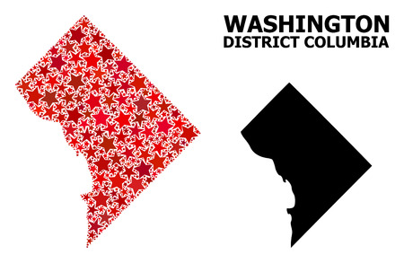 Red star mosaic and solid map of District Columbia. Vector geographic map of District Columbia in red color tones. Abstract mosaic is designed with scattered flat star items. Illustration