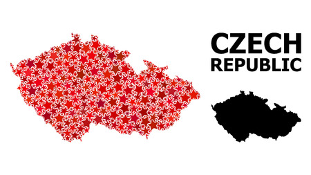 Red star mosaic and solid map of Czech Republic. Vector geographic map of Czech Republic in red color tints. Abstract composition is designed with randomized flat star elements.