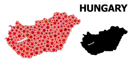 Red star mosaic and solid map of Hungary. Vector geographic map of Hungary in red color variations. Abstract mosaic is composed with random flat star items. Illusztráció